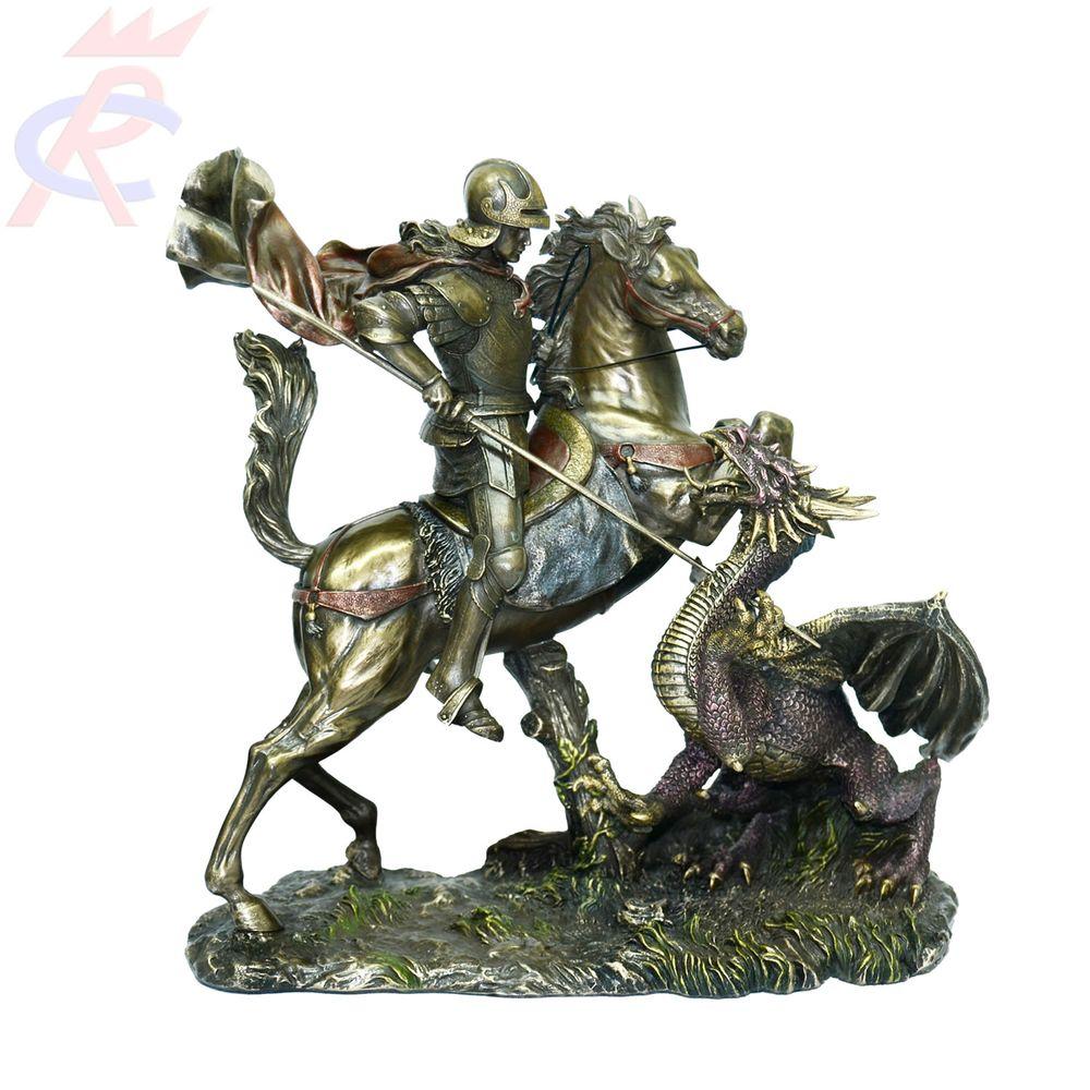 Estatueta-em-Resina-Decorativa-Sao-Jorge-Guerreiro-com-Lanca-e-Dragao-26-Cm