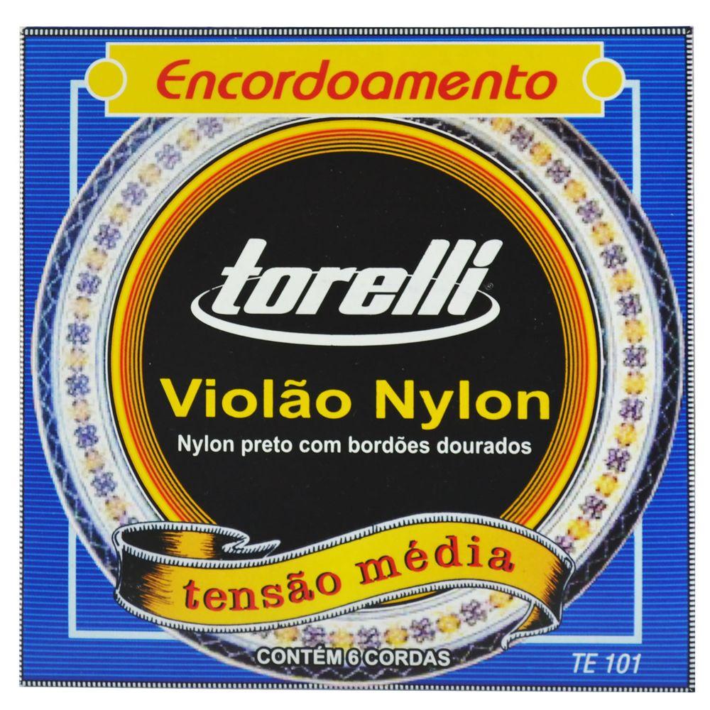 Encordoamento-Nylon-Preto-para-Violao-com-Bordoes-Dourados---Torelli
