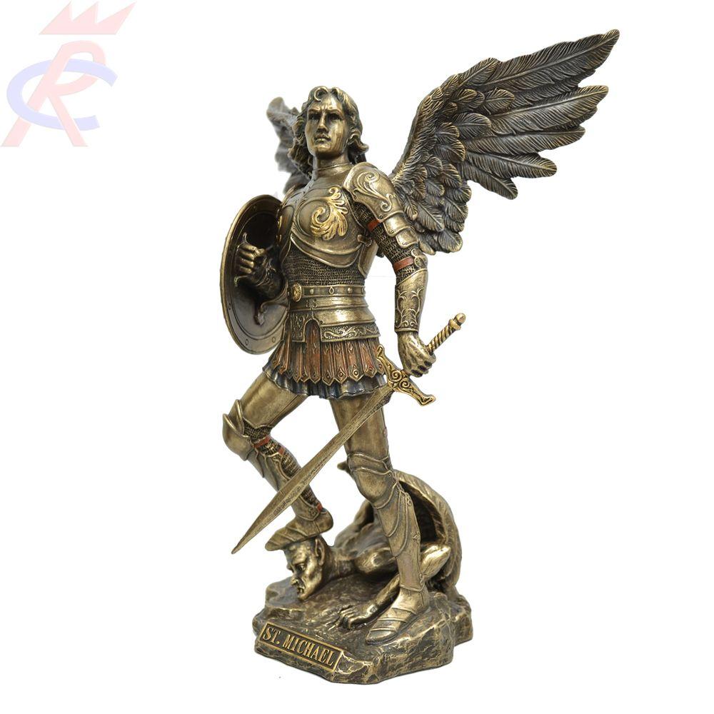Estatua-em-Resina-Sao-Miguel-com-Espada-e-Escudo-23-cm