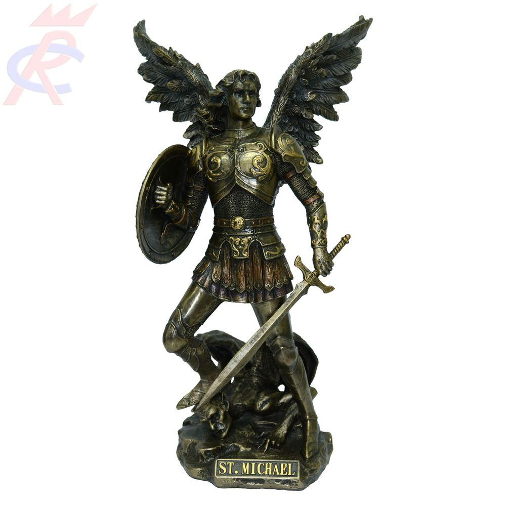 Estatueta-em-Resina-Decorativa-Arcanjo-Sao-Miguel-c-Espada-e-Escudo-31-Cm